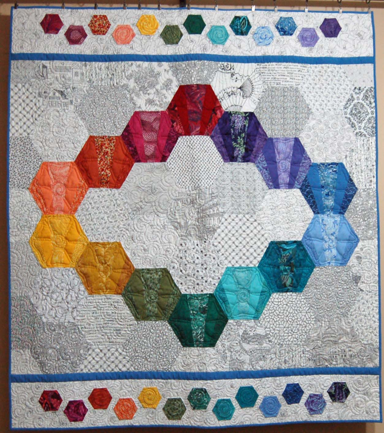 Fan hexagon quilt template set quilts by cindy thury smith for Hexagon templates for quilting free